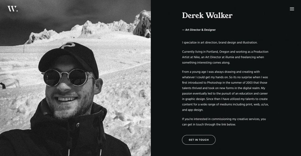 Derek Walker Minimal About Page