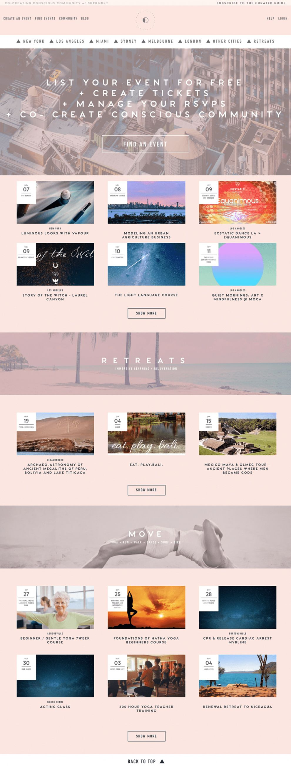 Conscious City Guide Amazing Homepage