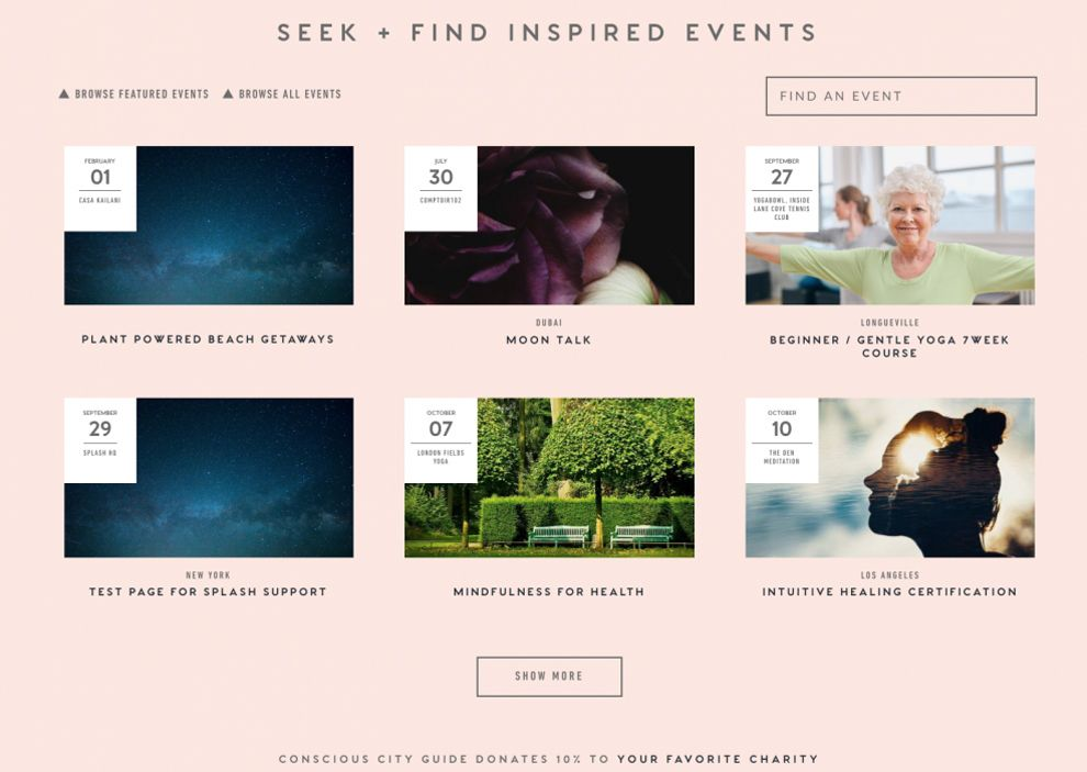 Conscious City Guide Amazing Events Page