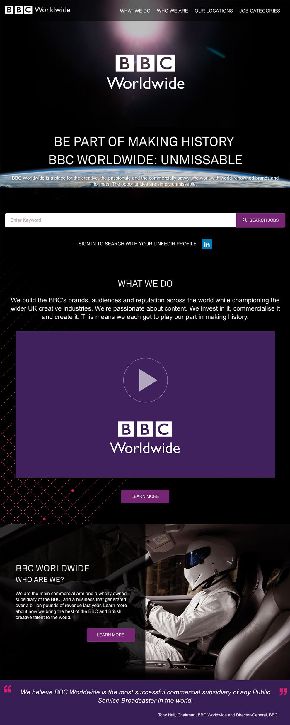 BBC Worldwide Awesome About Page