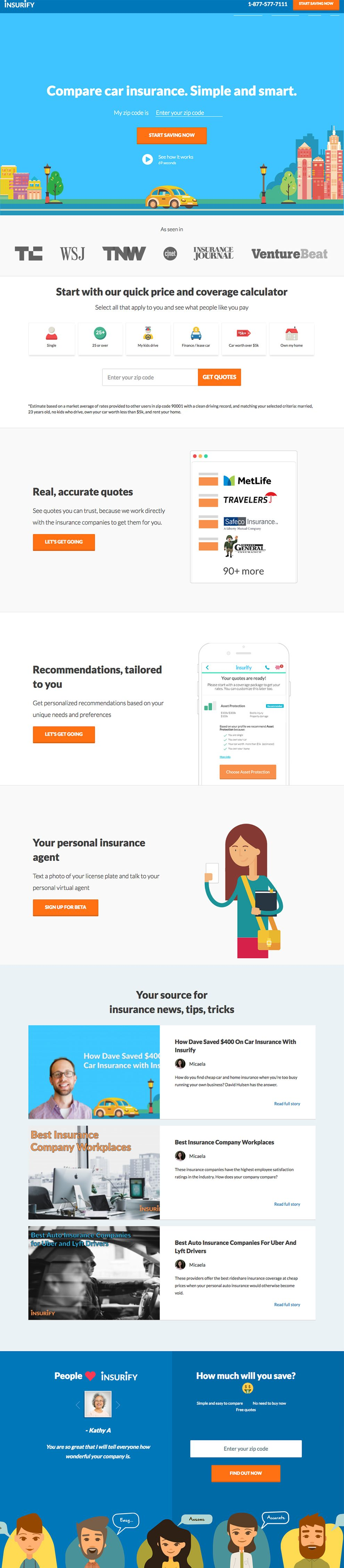 Insurify Illustrated Homepage