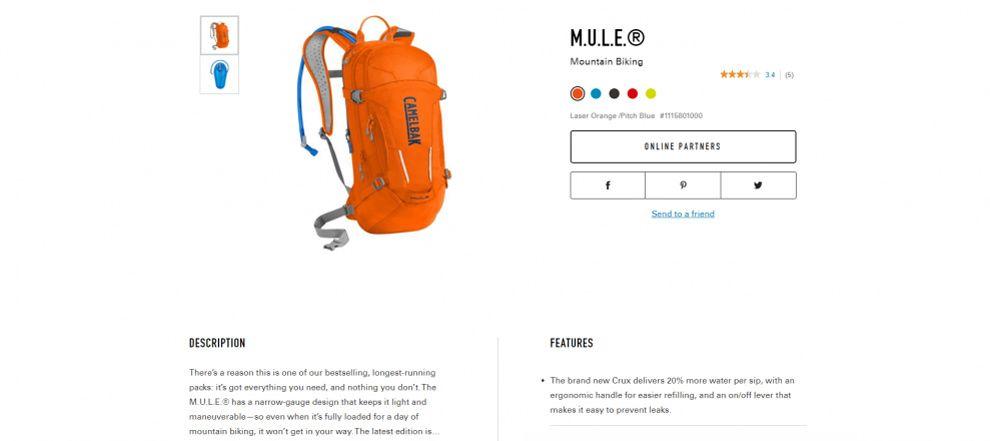 Camelbak Great Website Design