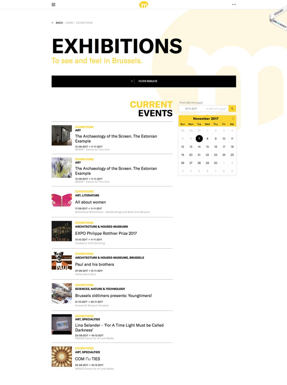 Brussels Museum Great Events Page