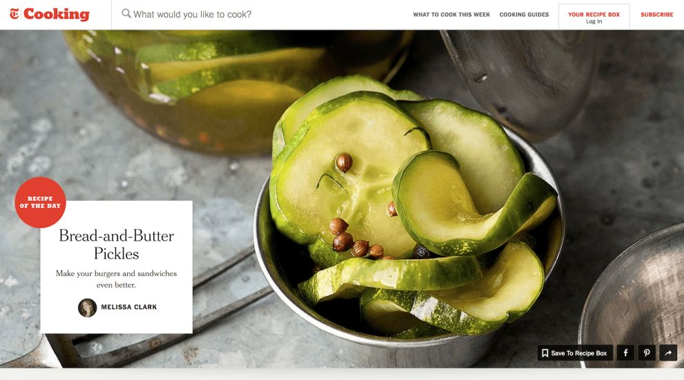 NYT Cooking Clean Homepage