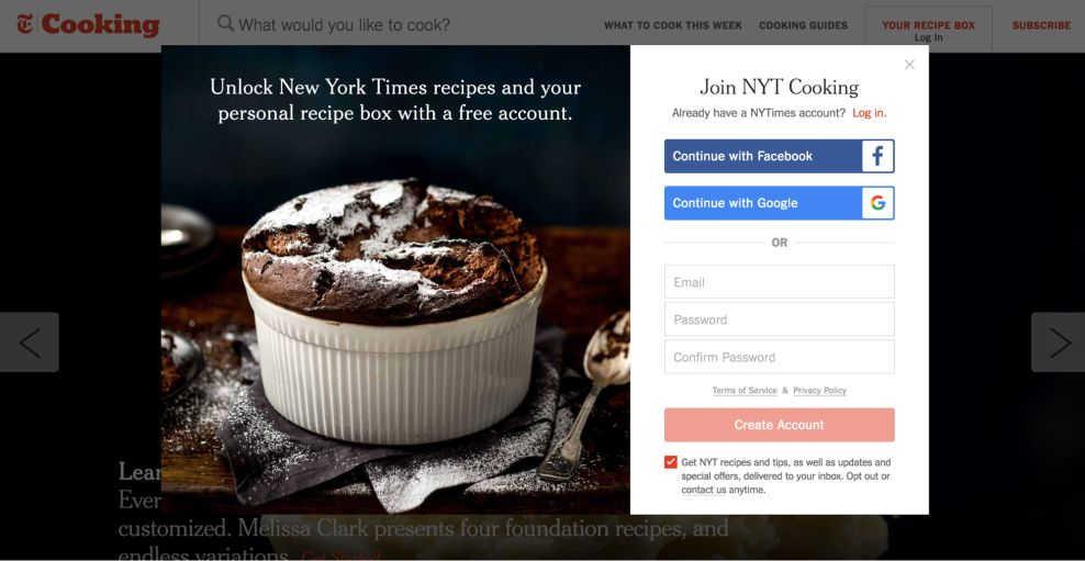 NYT Cooking Clean Login Popup