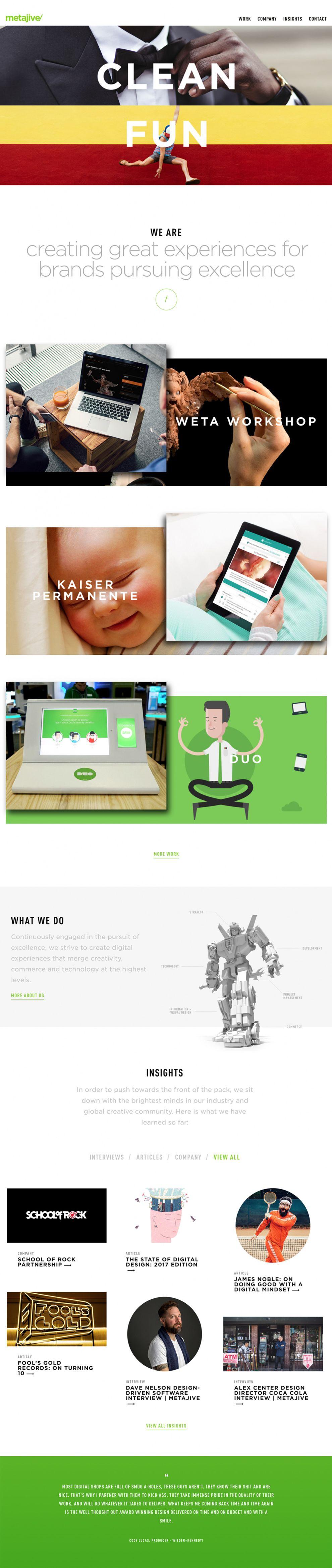 Metajive Clean Homepage