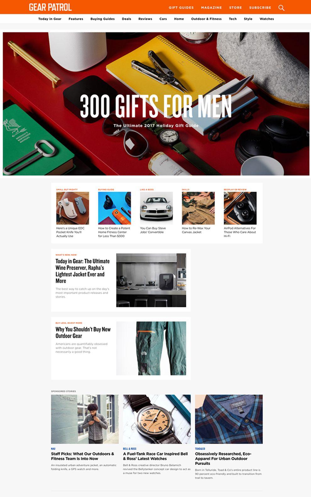 Gear Patrol Clean Homepage
