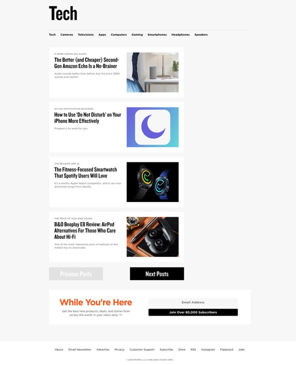Gear Patrol Clean Website Design