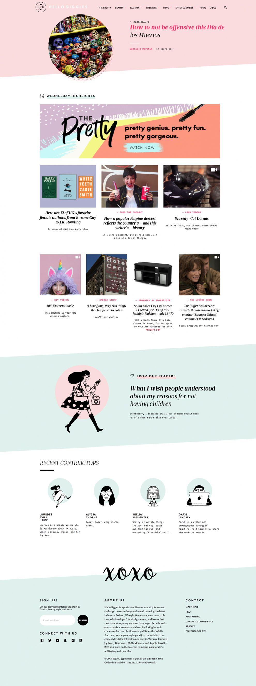 Hello Giggles Colorful Homepage