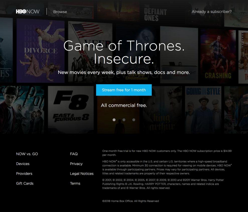 HBO Now Minimal Homepage