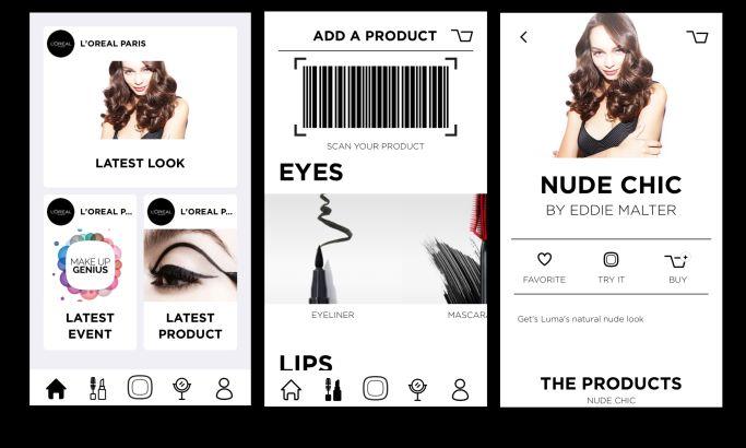 L'Oreal Makeup Genius Engaging App Design