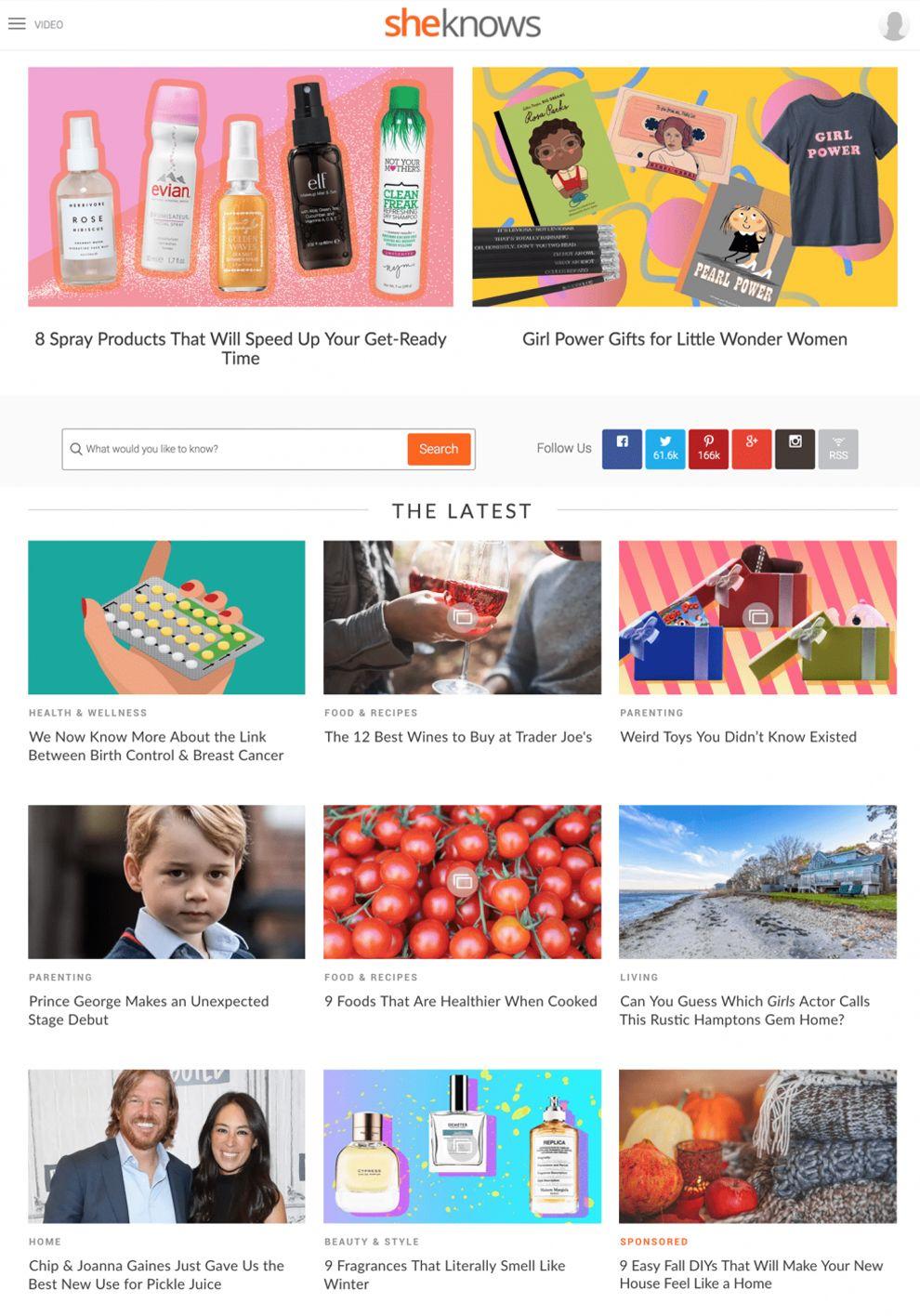 SheKnows Clean Homepage
