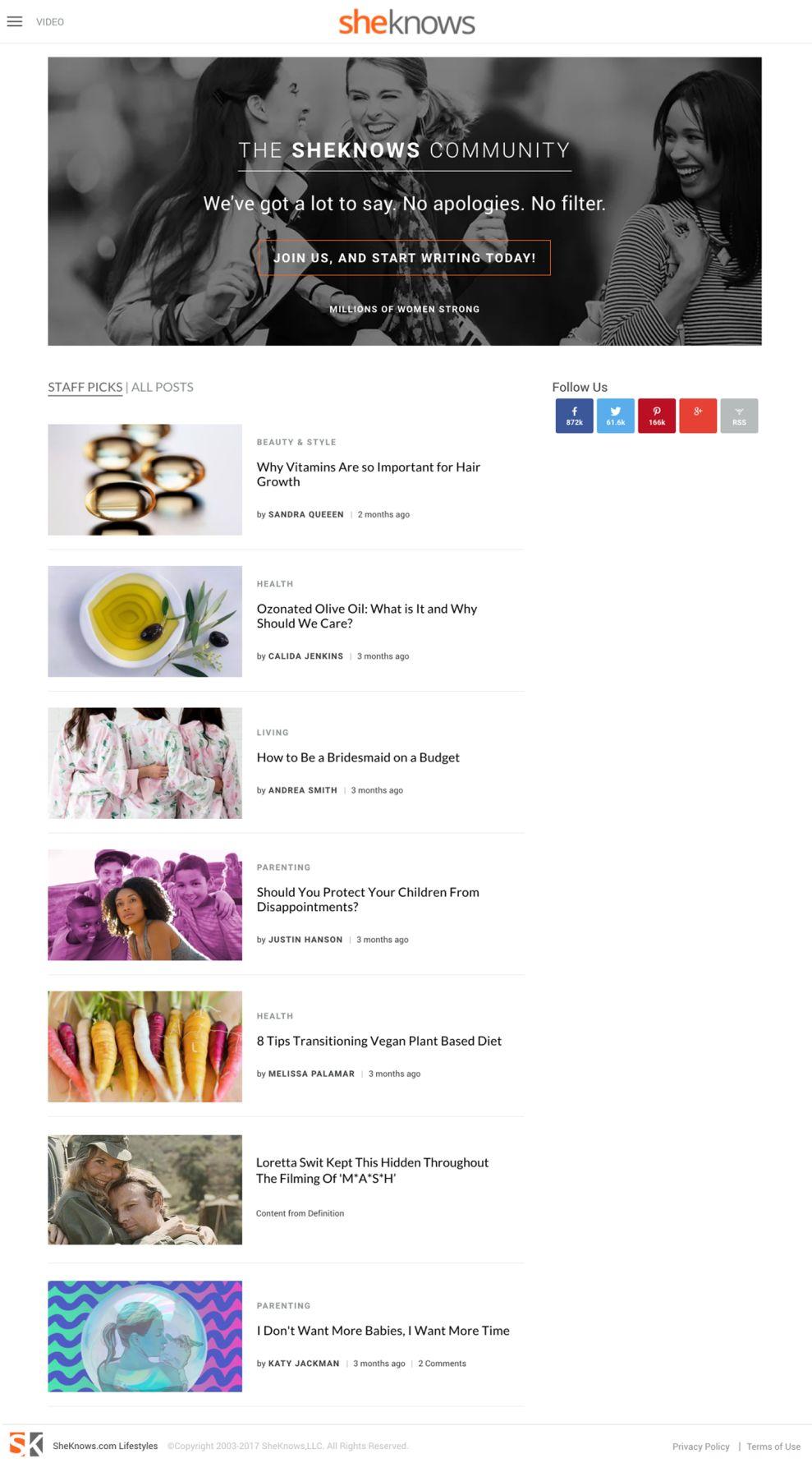 SheKnows Clean Website Design