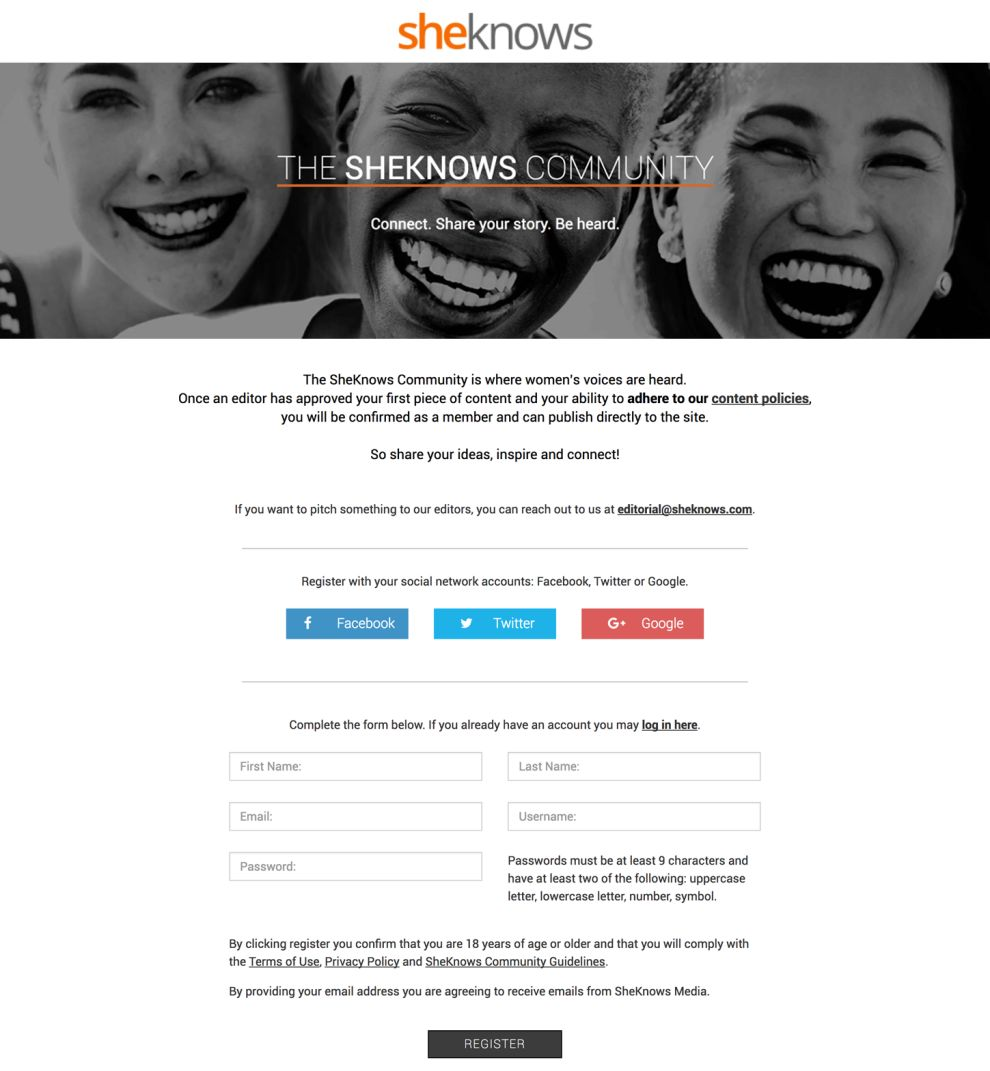 SheKnows Clean Forms Design