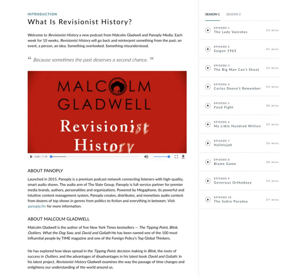 Revisionist History Great Website Design