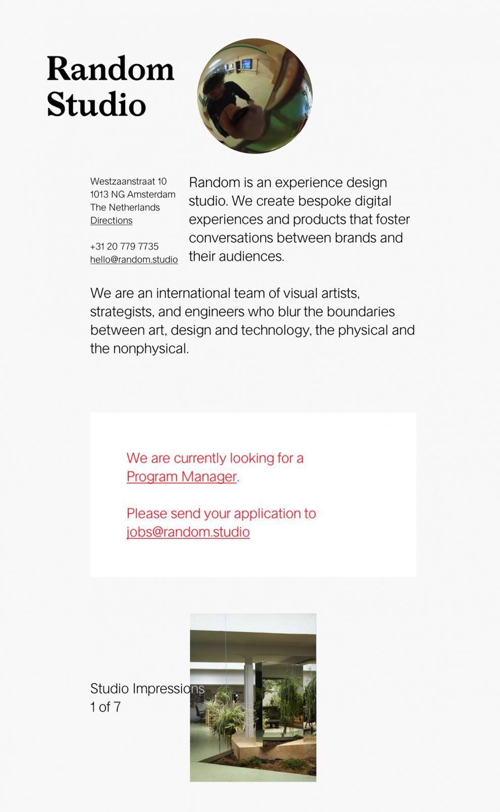 Random Studio Minimal Website Design