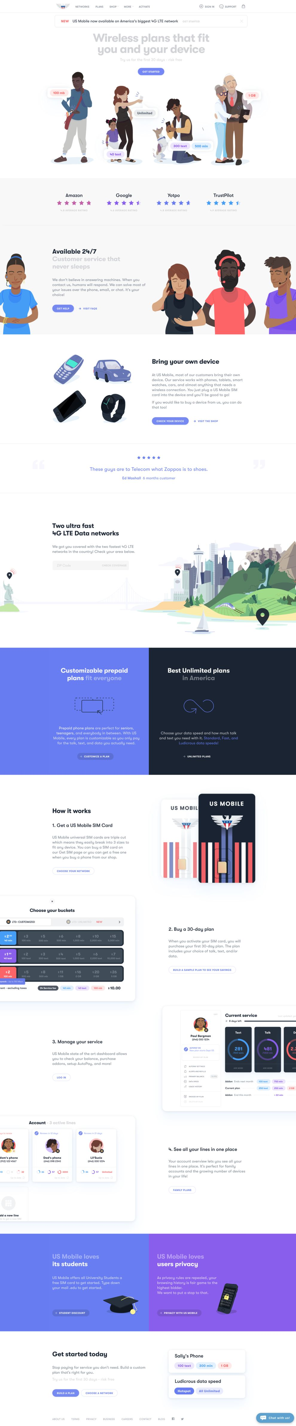 US Mobile Colorful Homepage
