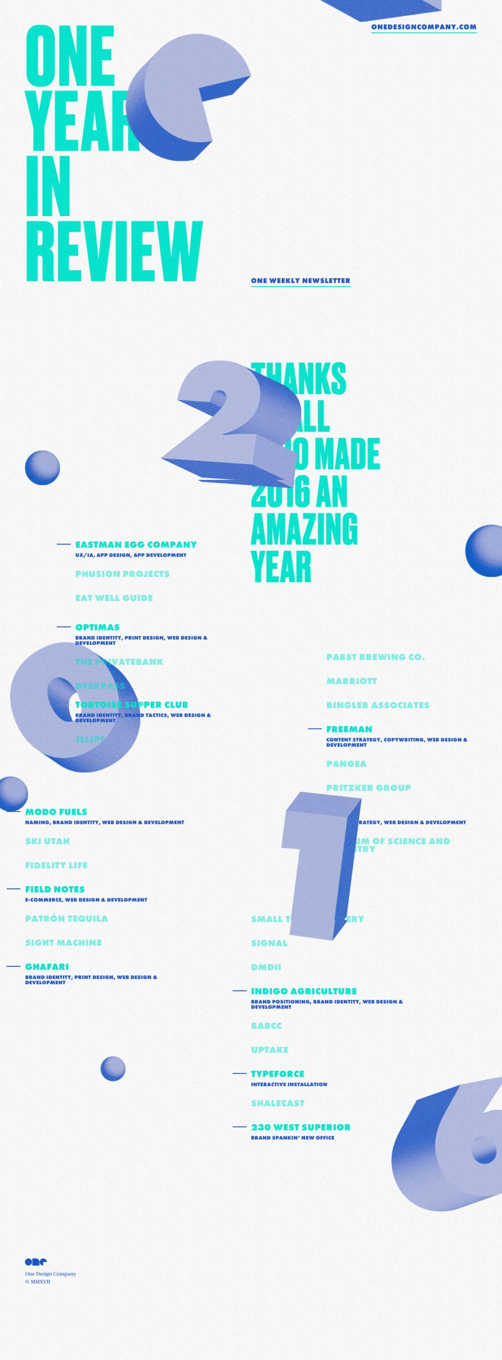 One Year In Review Creative Homepage