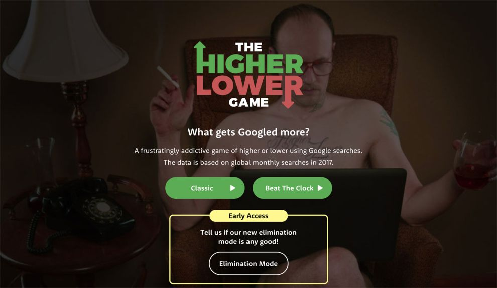 The Higher Lower Game Great Homepage