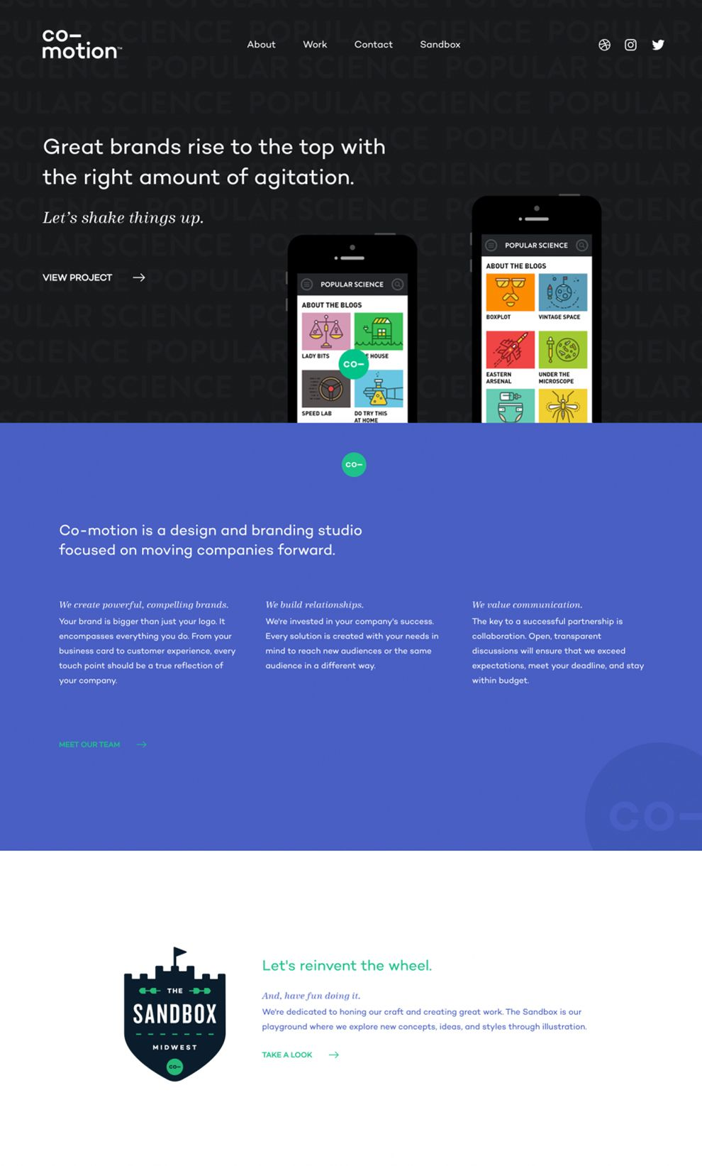 Comotion Colorful Homepage