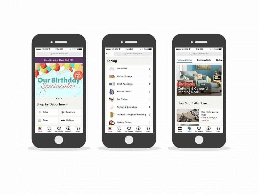 Wayfair Simple App Design