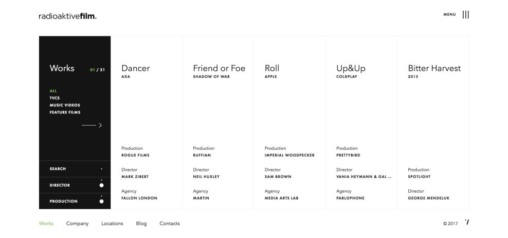 Radioaktive Film Clean Website Design