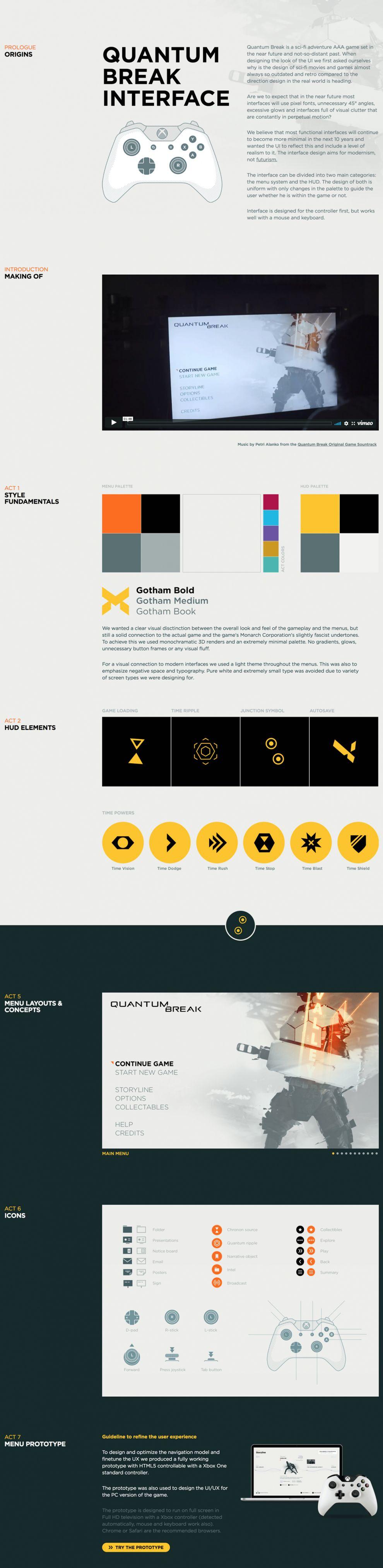 Quantum Break Interface Elegant Website Design