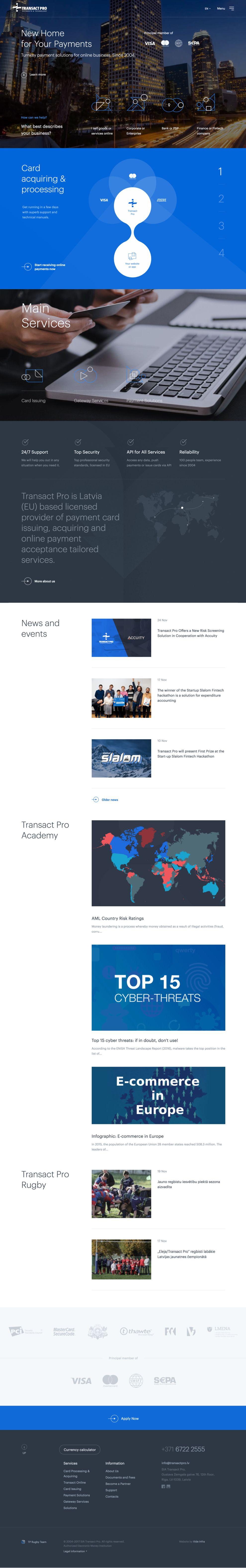 Transact Pro Professional Homepage