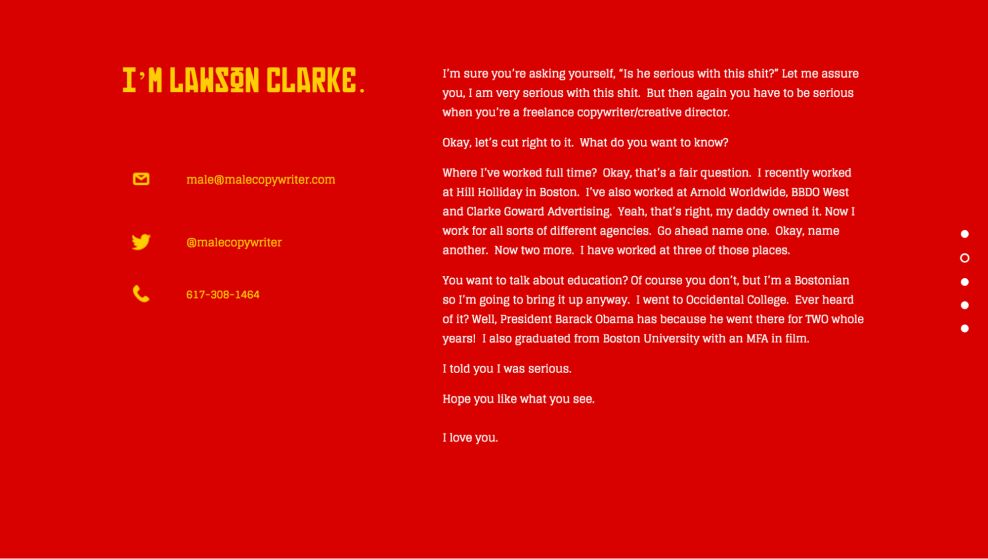 Malecopywriter Creative Website Design