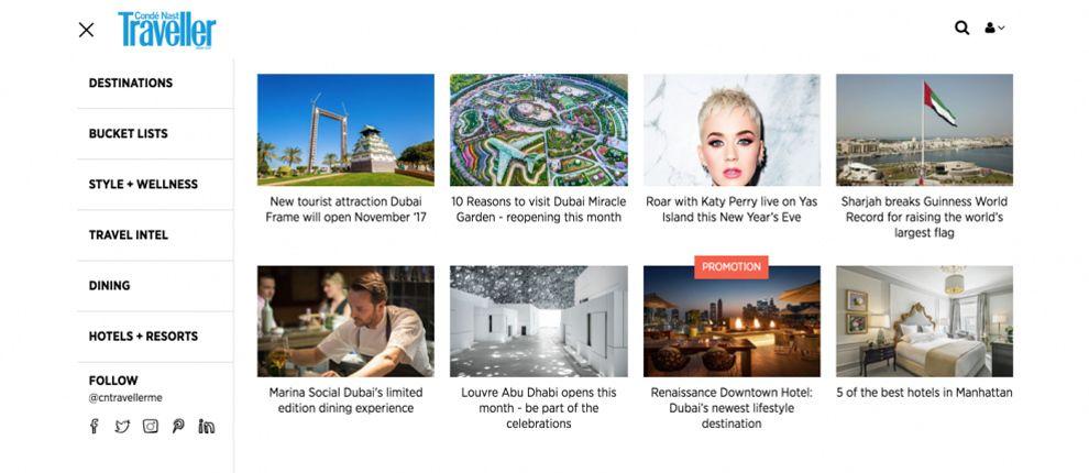 Conde Nast Traveller Clean Website Design