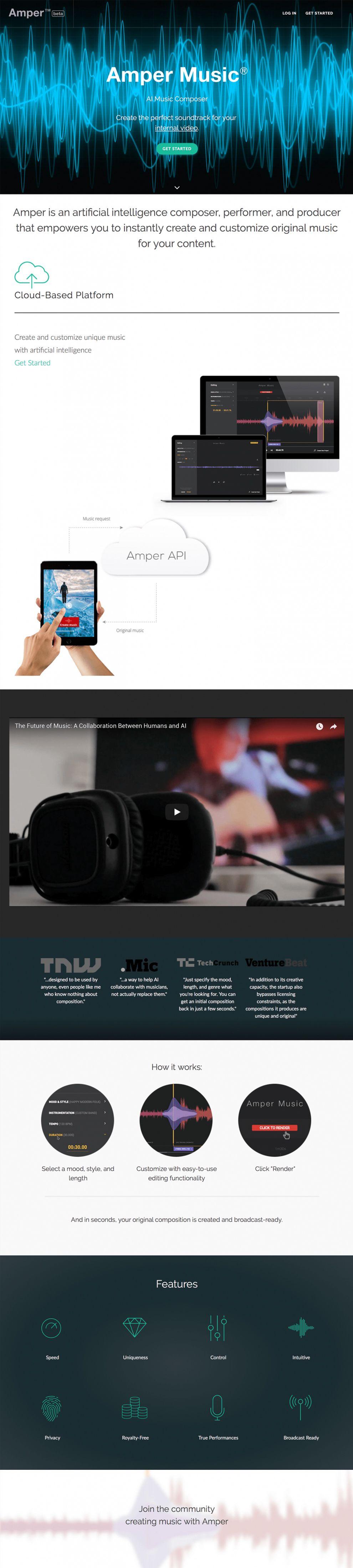 Amper Music Great Homepage