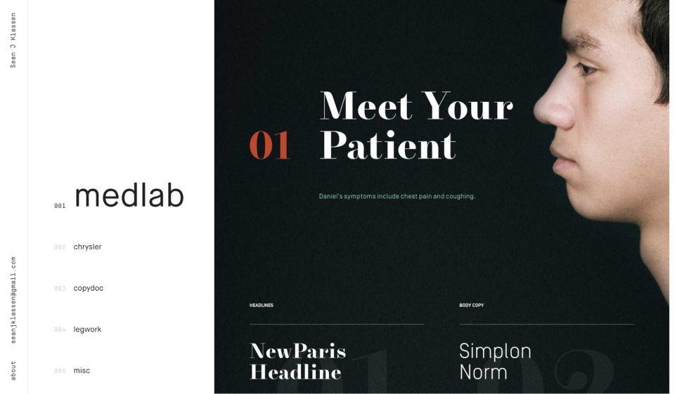 Sean J Klassen Minimal Website Design