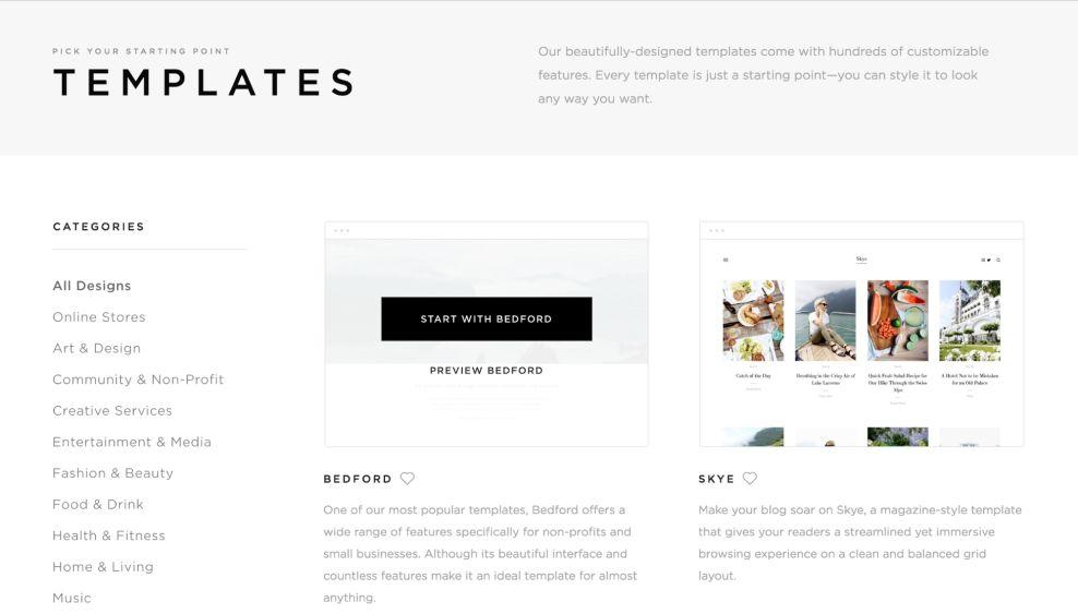 Squarespace Clean Templates Page