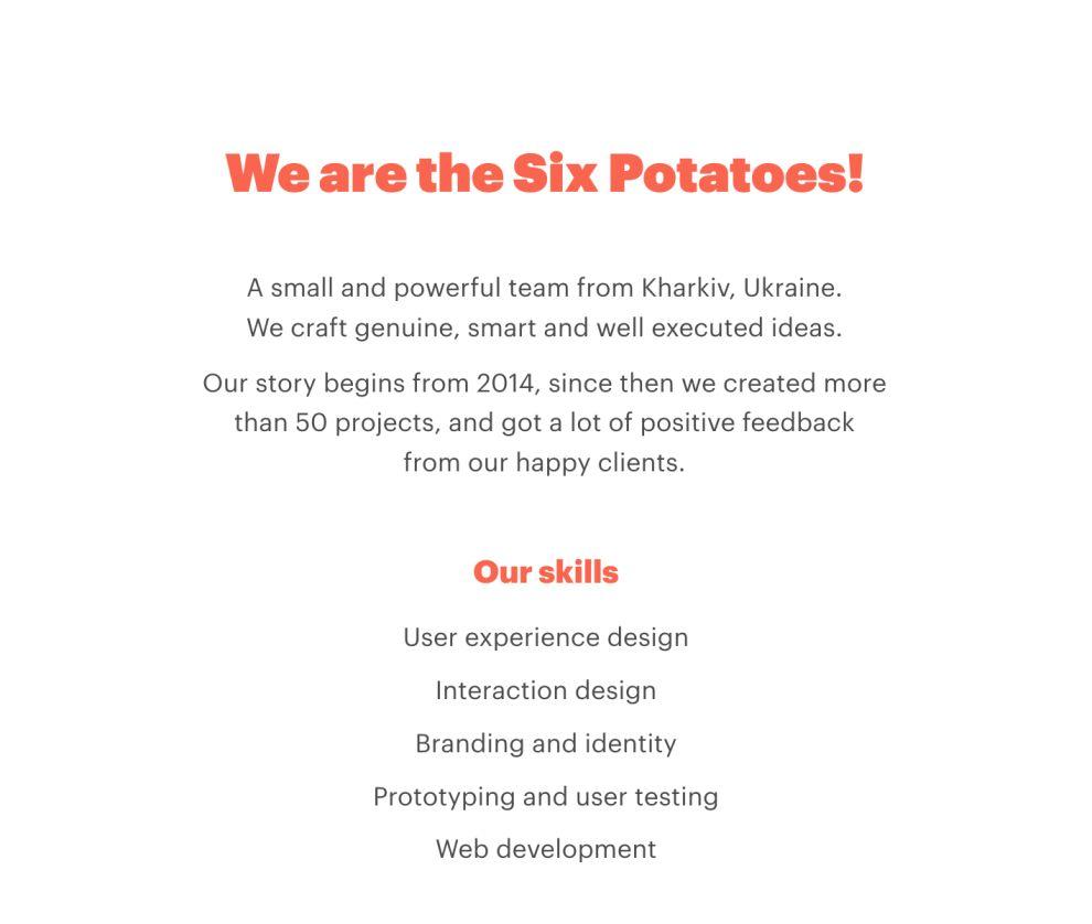 Six Potatoes Clean Website Design
