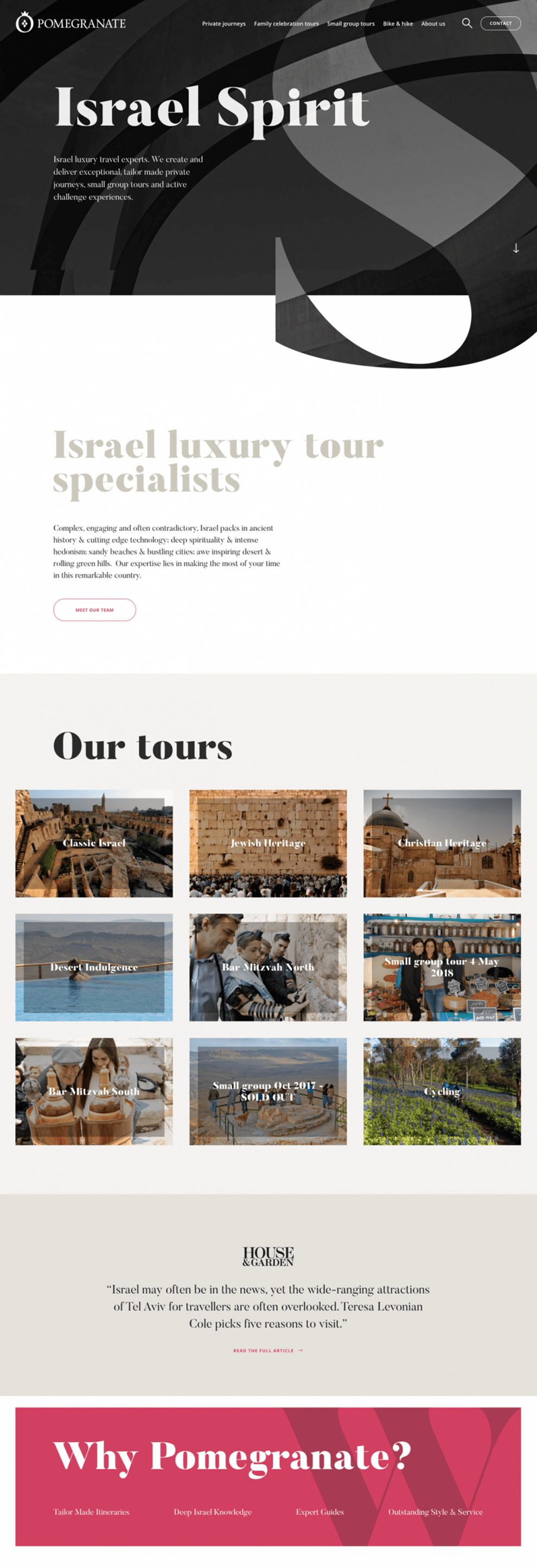 Pomegranate Travel Awesome Homepage