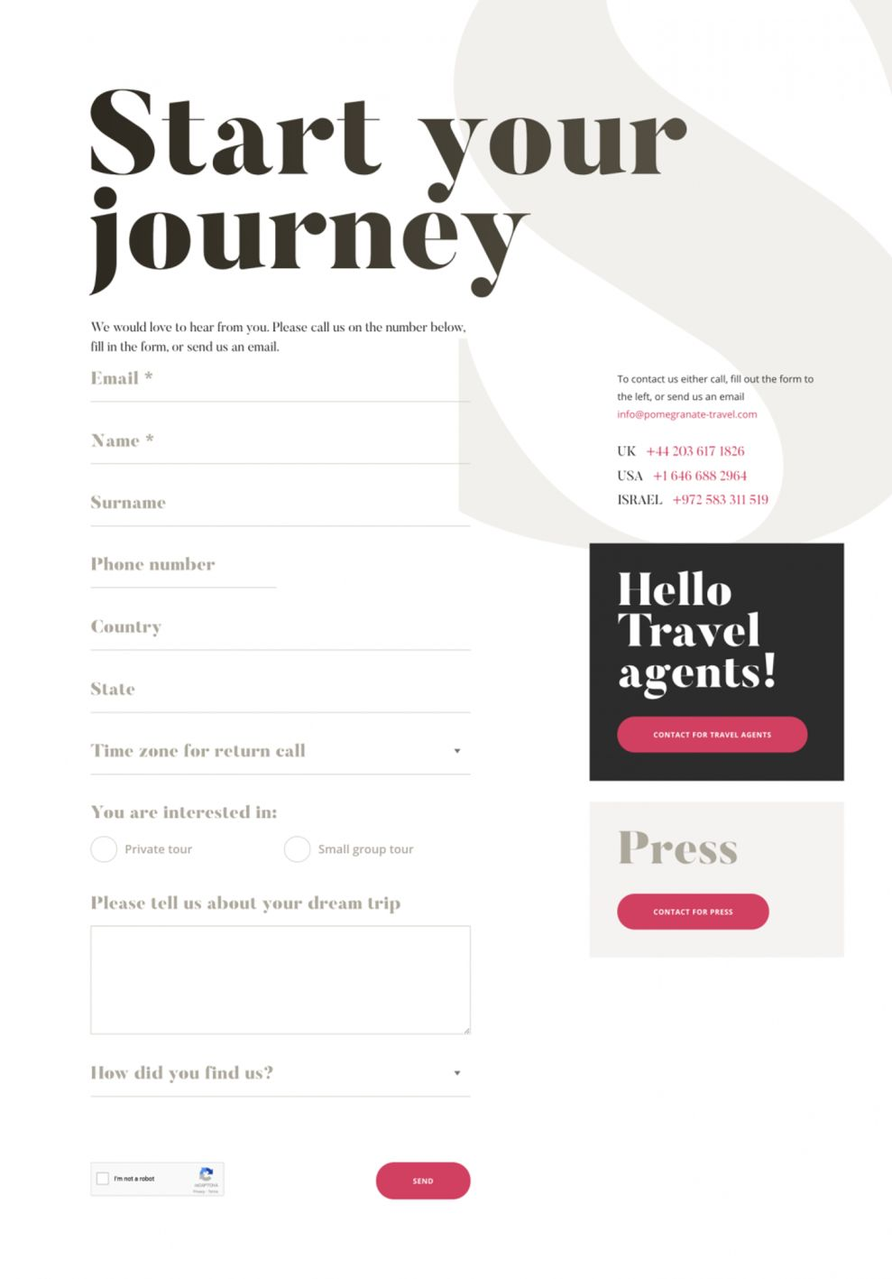 Pomegranate Travel Awesome Forms Design