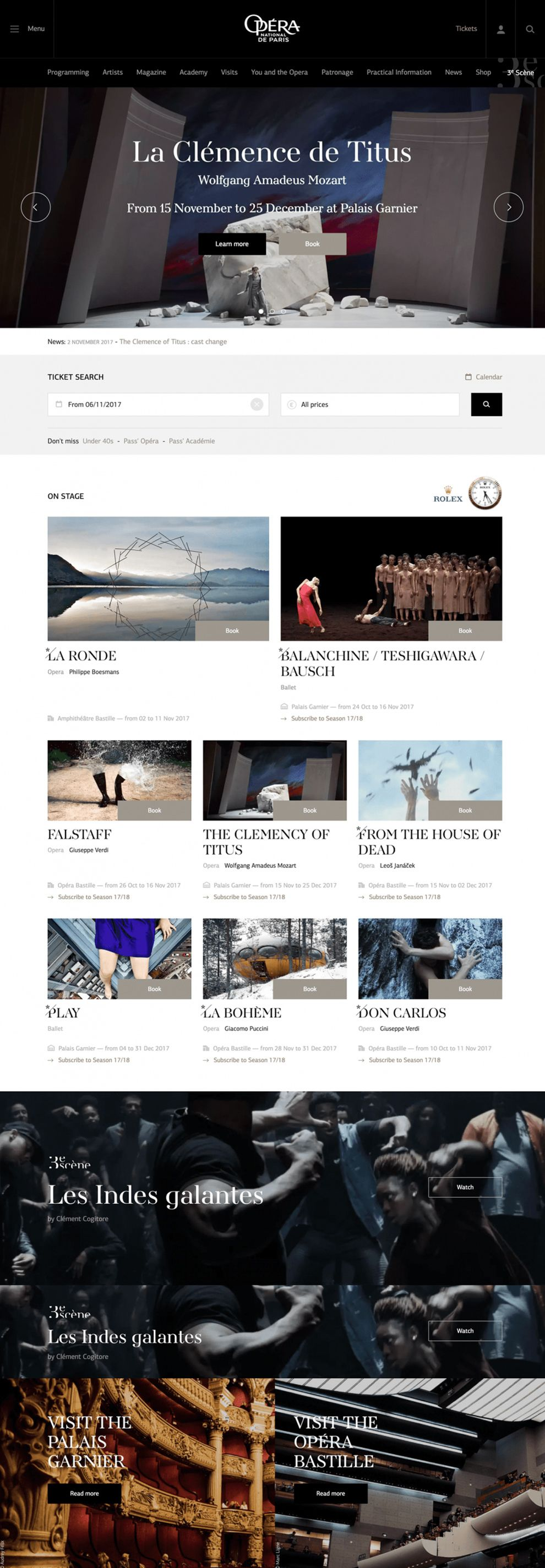 Opera National de Paris Great Homepage