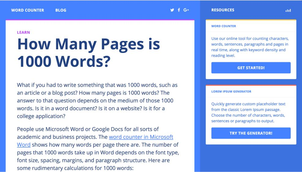 Wordcounter Minimal About Page