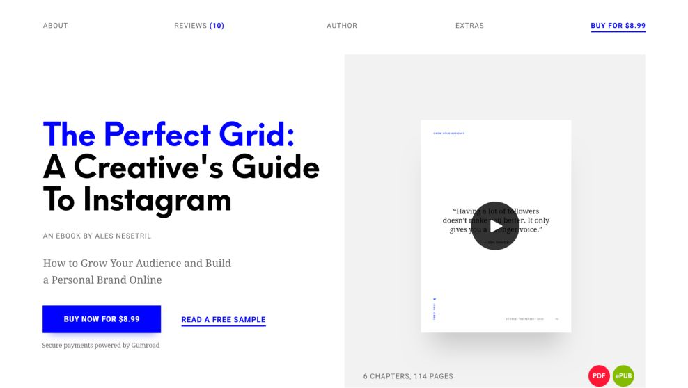 The Perfect GridBook Clean Homepage