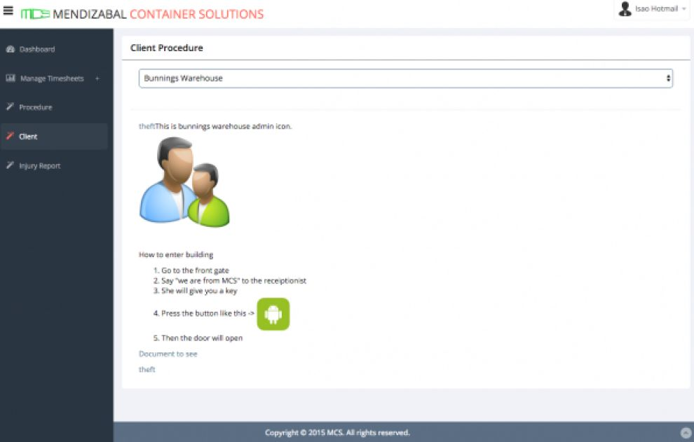 Mendizabal Container Solutions Minimal App Design
