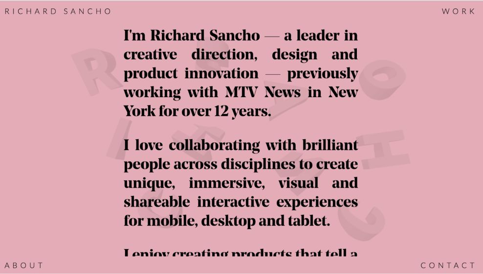 Richard Sancho Awesome About Page