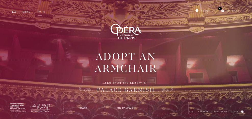Opera De Paris Adopt a Chair Awesome Website Design