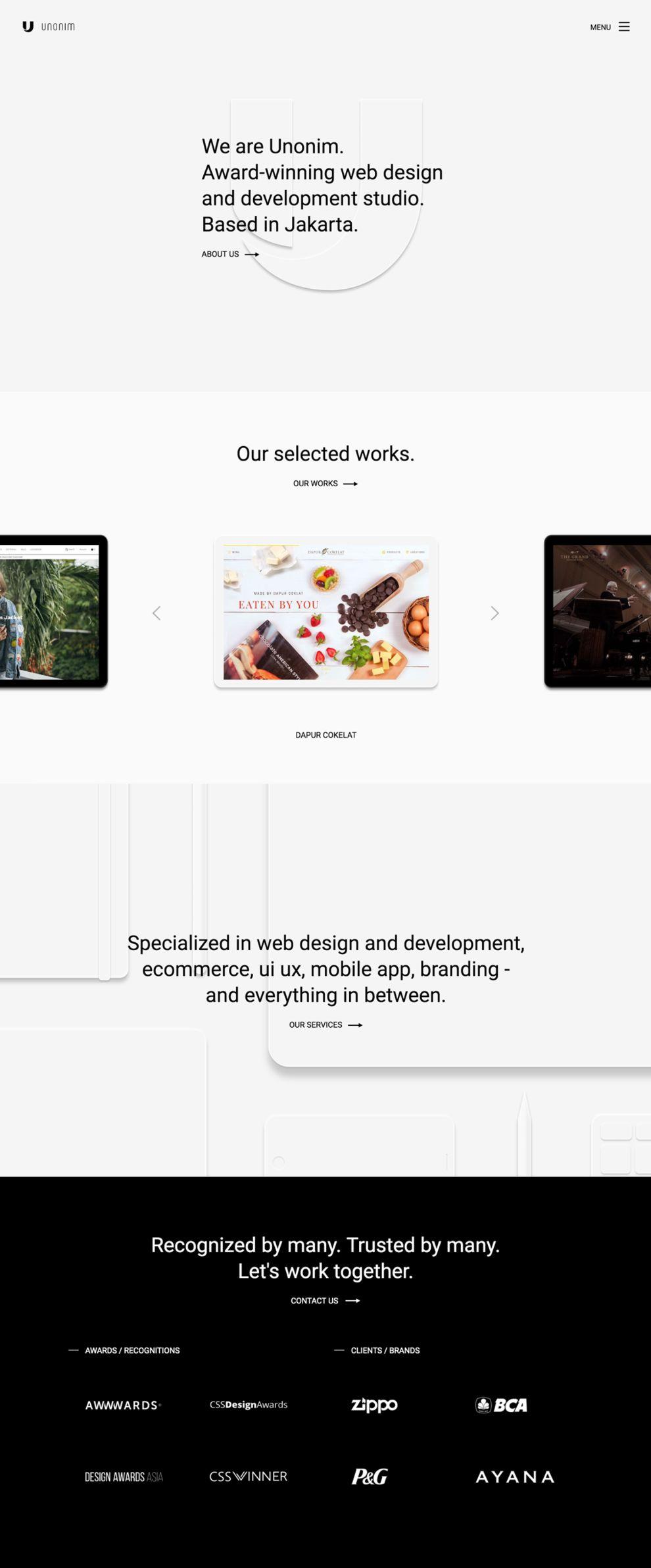 Unonim Clean Homepage