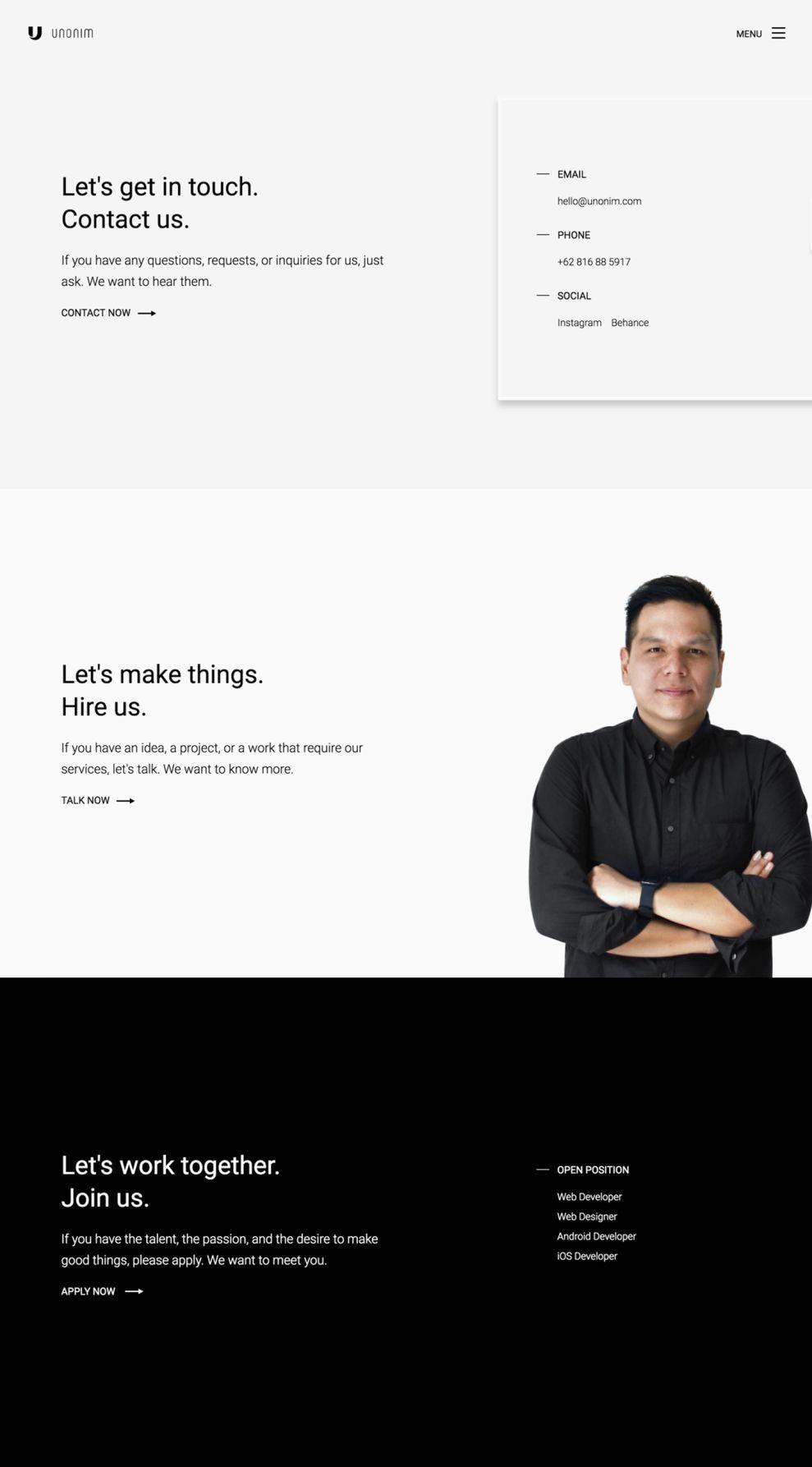 Unonim Clean Contact Page