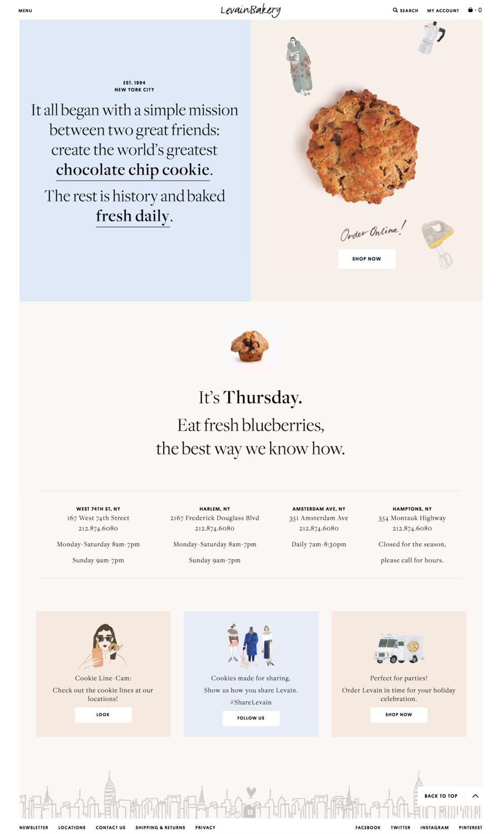 Levain Bakery Beautiful Homepage