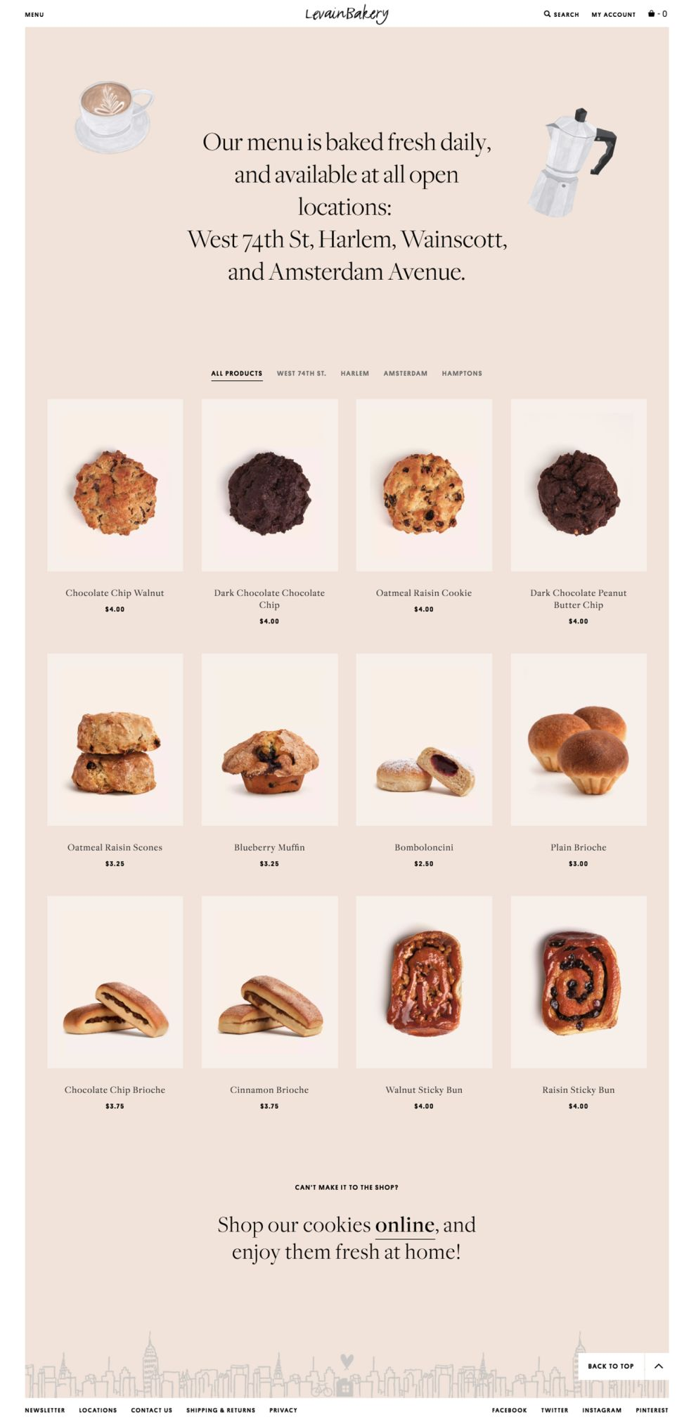 Levain Bakery Beautiful Product Page
