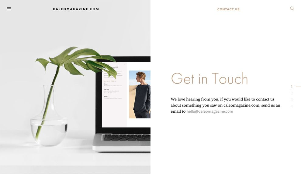 Caleo Magazine Great Contact Page