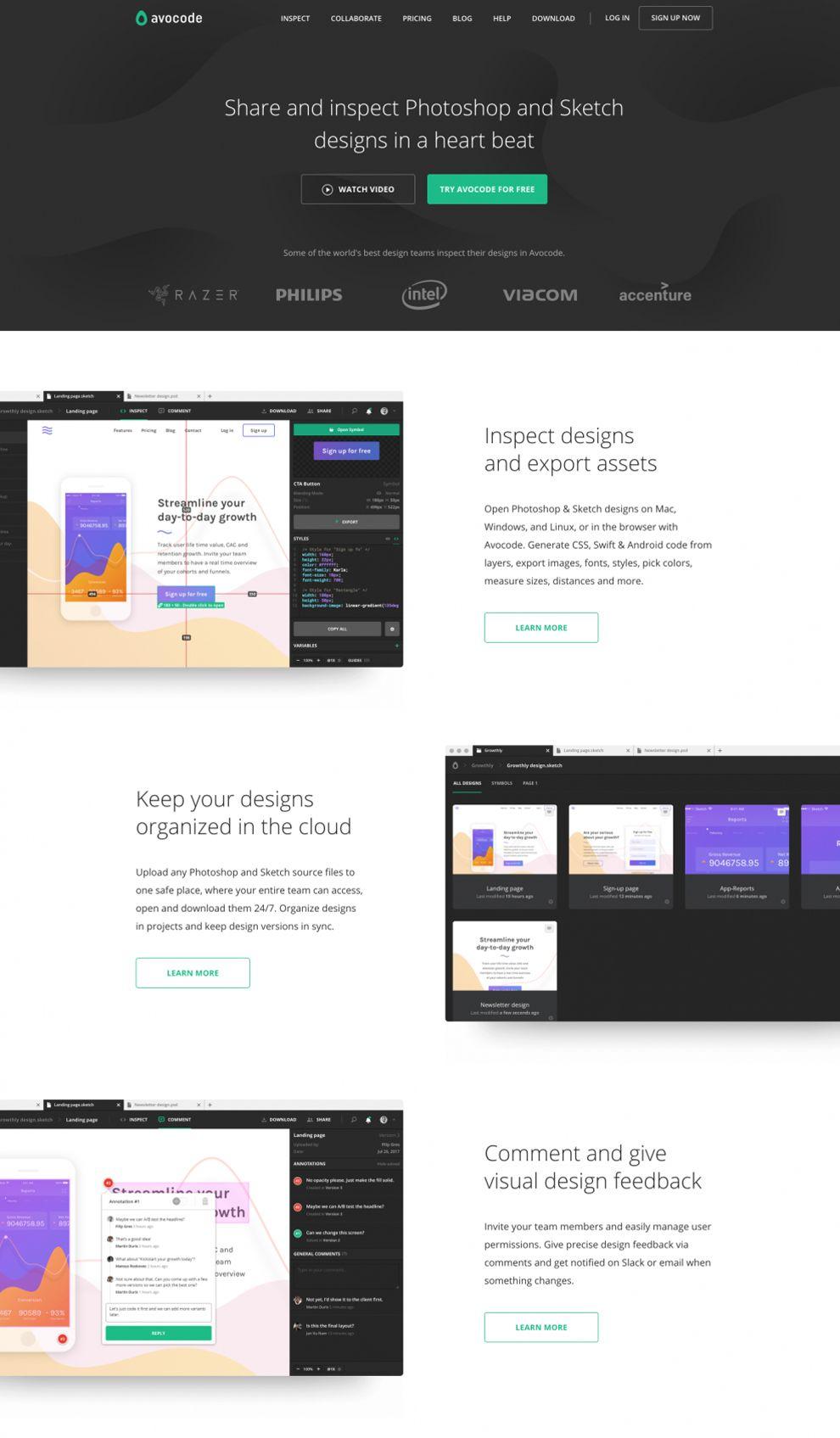Avocode Clean Homepage