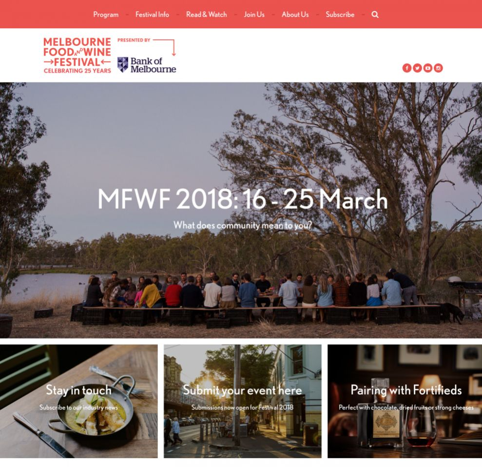 Melbourne Food and Wine Festival Clean Homepage