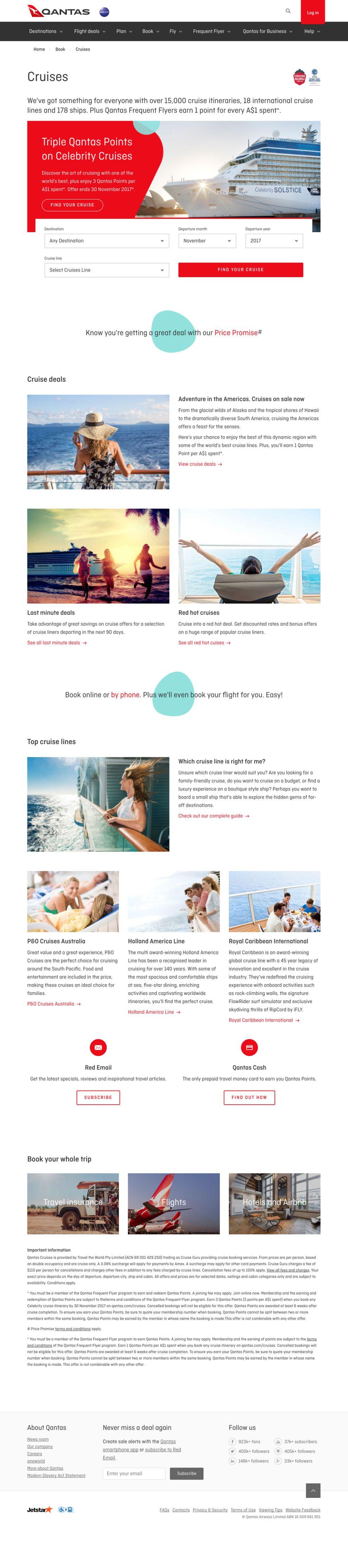 Qantas Clean Website Design